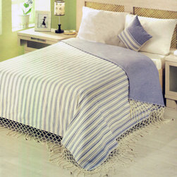 Turkish Work Bedspread - Turkish Work Bedspread with Indigo Blue Vertical Stripes on Natural Color.