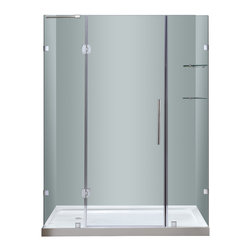 """Aston - Aston 60x77.5, Completely Frameless Hinge Shower Door, Left Base - Instantly transform your existing shower alcove space and upgrade your bath's design with the SDR983 60"""" Completely Frameless Hinge Shower Door. Constructed of durable 6mm ANSI-certified tempered clear glass and chrome or stainless steel finish hardware, you can achieve a custom-look in your bath. Deluxe clear seal strips prevent leakage which allows for this completely frameless design. The SDR983 also includes two interior glass shelves designed with convenience and functionality in mind. This model is configured for reversible left or right hand door installation and can be paired with an optional left, center or right configured 2.5"""" low profile acrylic fiberglass enforced base."""