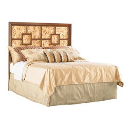 Lexington - Lexington Mirage Harlow Headboard, Queen - The two panels on the Queen headboard confer an elegant look with the clean modern lines. Or reverse to figured patterns of Mappa Burl behind Walnut fretwork if so desired.
