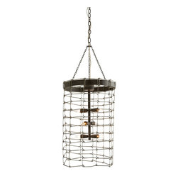 Trudy Small Pendant - Cylindrical open wire link pendant in a natural iron finish accommodates six exposed bulbs. Consider an antique style bulb to create a subtle glow while featuring various filament designs. Illuminate dining spaces, foyers and hallways. Shown with small clear tubular bulbs.