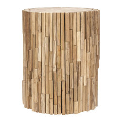 Rustic Teak Wood Stool - Reclaimed teak pieces come together to create this stunning side table. An excellent addition to décor of any style, this conversation piece also provides additional seating and will add artistic appeal to your home for years to come.