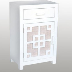 Tatum 1 Drawer Night Stand - A fresh, Asian-inspired pattern makes the Tatum 1 Drawer Night Stand a perfect nighttime companion. This stand is made of engineered wood with a rattan door panel and is finished in rubbed white. Keep your bedroom tidy with the cupboard door and single drawer above. About Jeffan InternationalJeffan International is the North American division of a 20-year-old family-owned company based in Indonesia. They design, manufacture, and market a broad line of home furnishings, including indoor/outdoor furniture, lighting, and decorative home accents. Jeffan's mission is to bring Indonesia's amazing craftsmanship and design capabilities to the rest of the world. Known for excellent customer service and superior quality, Jeffan offers whatever you need to give your home that extra-special touch.