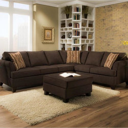 Simmons - Made to Order Simmons Upholstery Diver Chocolate Two Piece Sectional - Show off your knack for style by incorporating the Diver two-piece sectional sofa set by Simmons into your home. Sinking into the luxurious comfort of this living room accent is made possible with the plush cushion padding and ultra-soft fabric cover.
