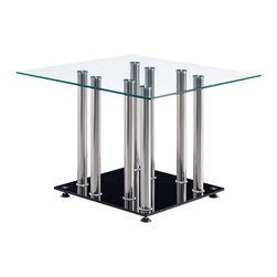 Global Furniture - Global Furniture USA T368 Square Glass End Table with Stainless Steel Legs - This modern end table is made of tempered glass and is finished in black. The chrome accents makes this table a focus point for any living room.