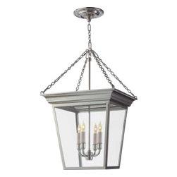 "Small Cornice Hanging Lantern - by Sandy Chapman. Dimensions: 23""H. Minimum Height: 27"""