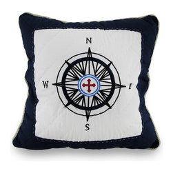 Zeckos - Quilted Blue/White Compass Rose Nautical Throw Pillow Rope Trim 16 in. - Adding a touch of maritime charm is easy with this beautifully embroidered throw pillow brimming with decorative flair that's perfect for your living room sofa, decorating a chair in the office, or as the finishing touch to a beach-side cottage. A dark blue embroidered compass rose design stands out on a quilted white background, and is framed in a soft rope trim to complete the nautical theme. This 16 inch high by 16 inch long (41 by 41 cm) pillow has a 100% dark blue cotton cover with a hidden zipper on the back to easily remove the 100% polyester filled insert, and is recommended to spot clean only. This pillow would look just as great tossed on a bed as it would tucked under your arm while reading the paper, and would make a wonderful housewarming gift!