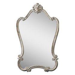 None - Walton Hall White Arched Mirror - Featuring decorative Fleur-de-lis details,this frame is finished in heavily distressed antique white with charcoal undertones and a light grey glaze. This stunning accent piece is sure to add depth to any room.