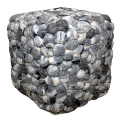 Foreign Affairs Home Decor - Square Pebble Pouf WOOLIE in melange of grey/brown/off-white. - Luxurious square Pouf WOOLIE with felt pebble design in grey/brown/off-white.