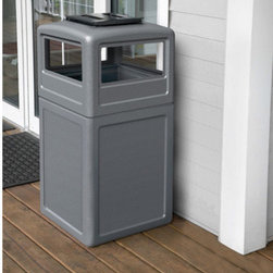 "Commercial Zone - 38 Gallon Square Waste Container with Ashtray Dome Lid - Maintain a clean and organize surroundings with this space-saving and functional ash and trash solution. Features: -Covered dome lid has easy access on all four sides.-Powder-coated steel ashtray unlocks for easy cleaning.-Large 38-gallon capacity for high-traffic areas; uses 39-gallon trash bags.-Easy lift-off dome lid and Grab Bag System keeps trash bag in place.-Ships in two cartons.-Includes 1 year warranty.-Overall Dimensions: 38.50"" H x 18.50"" W x 18.50"" D."