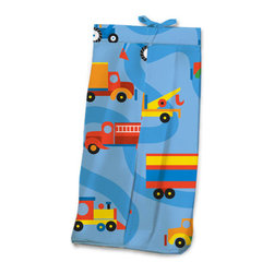 Boys Like Trucks Diaper Stacker - Baby boys will love this adorable Diaper Stacker made with designer print with winding road and trucks of every kind. This item is completely made of cotton.