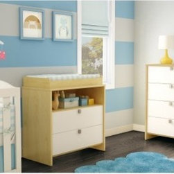 South Shore Cookie Changing Table - Sleek lines and a two-tone finish make the South Shore Cookie Changing Table a perfect addition for your nursery. This well-crafted cutie goes from safe and convenient changing table to big-kid dresser in a flash. It's built to last from durable engineered wood and comes in your choice of finish both with pure white drawer fronts and sassy chromed metal handles. The changing table on top stays in place yet has built-in handles for easy removal. The open storage space is great for baby essentials now yet has a cord management hole in the back so can transform into TV console as your little one grows. Nice! The two drawers below are generously sized. About South Shore FurnitureA recognized leader in North American furniture manufacture South Shore Industries was established in 1940 and has been making furniture for three generations. Employing a team of over 1 000 employees in three factories in Quebec their assembled and ready-to-assemble furniture has a reputation for quality and excellence at affordable prices for today's family. A Green ChoiceAll South Shore Industries products are made of laminated engineered wood which gives them great strength and durability. Wood panels are made entirely from recovered and recycled material. While South Shore makes every effort to preserve the environment by conserving our forests they make no compromise when it comes to quality and product durability. Their products are designed for easy maintenance and offered at very competitive prices.