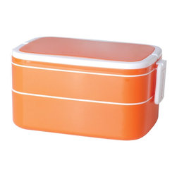 Genmert - Mulberry Double Stack Bento Box with Handle, Orange - Keeping your food contained stylishly may just prove to be an appetizing endeavor with these contemporary lunch boxes. Days of flimsy containers are long gone - you'll have fun presenting meals in the Mulberry Oval Bento Box, with its attractive colors, lock-on lid and convenient handles for easy transport. Non-toxic, BPA-free, dishwasher and microwave-safe for worry-free food storage.