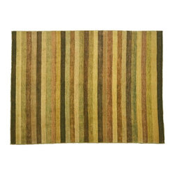 8'X9' Area Rug, Multicolored Striped Gabbeh Peshawar Natural Dyes Rug SH7549 - Our Modern & Contemporary Rug Collections are directly imported out of India & China.  The designs range from, solid, striped, geometric, modern, and abstract.  The color schemes range from very soft to very vibrant.