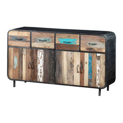 Artemano - Large Sideboard Made of Recycled Boat Wood and Industrial Metal - Industrial and modern meet rustic and eclectic in this stunning sideboard made of recycled wood from dismantled boat wrecks, giving new life to materials that have withstood years of rough seas. The colorful wood is encased in smooth metal and sits on four metal legs. Each buffet is one-of-a-kind since the original paint flecks, cracks and holes are kept and preserved with a protecting varnish. Let the charm of old Indonesian fishing boats fill your dining room!