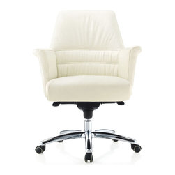 Zuri Furniture - Geffen Genuine Leather Aluminum Base Chair, White - Polish your business acumen in our Geffen executive desk chair. Featuring ergonomic genuine leather, a synchronized mechanism and a durable reinforced aluminum frame, the Geffen is sure to create the professional presentation that you've always wanted. Available for purchase in black, white and cream colors.
