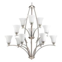 Progress Lighting - Progress Lighting P4497-09 12-Light Chandelier with Etched Glass Shades - Progress Lighting P4497-09 12-Light Chandelier with Etched Glass Shades