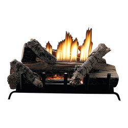 "Empire - MV 6-piece 18"" 28000 BTU Refractory Log Set - Liquid Propane - These systems combine the burner and log set into one package. Because they require a minimum of 12 inches firebox depth, these compact systems fit easily into most fireplaces."