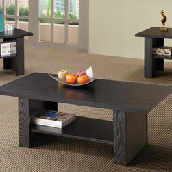Coaster - 3-Pc Occasional Table Set in Matte Black Fini - Includes one coffee table and two end tables. Contemporary style. Square end and rectangular coffee table. Spacious lower shelf on each table. End table: 23.5 in. W x 23.5 in. D x 20.25 in. H. Coffee table: 47.25 in. W x 23.5 in. D x 17 in. H. WarrantyThis coffee table and twin end table group combines clean design with practical use for one exceptional occasional collection. Visible wood grain adds texture and depth to the otherwise minimalist lines of the table tops and bases.