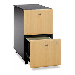 Bush Business - Assembled File Cabinet in Black & Beech - Ser - Petite and delectable drawer pulls stylishly add a minimal effect to this dual file drawer cabinet with a Beech front finish.  It slides smoothly on casters to whatever destination is desired and its full-etension ball bearing slides within each frame assure that each document is easy to reach.  Create a modular setup that is easy to arrange as business needs change.  Black and beech vertical file cabinets are mobile for versatility.  Build a unified, professional system with matching laterals and storage towers. * Casters allow easy mobility. File fits under desks. Each drawer holds letter, legal and A4-size files. One gang lock secures both drawers. Drawers open on full-extension ball bearing slides. Fully assembled case goods. 15.512 in. W x 20.276 in. D x 28.150 in. H
