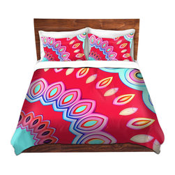 DiaNoche Designs - Duvet Cover Microfiber - Caribbean Summer Red - DiaNoche Designs works with artists from around the world to bring unique, artistic products to decorate all aspects of your home.  Super lightweight and extremely soft Premium Microfiber Duvet Cover (only) in sizes Twin, Queen, King.  Shams NOT included.  This duvet is designed to wash upon arrival for maximum softness.   Each duvet starts by looming the fabric and cutting to the size ordered.  The Image is printed and your Duvet Cover is meticulously sewn together with ties in each corner and a hidden zip closure.  All in the USA!!  Poly microfiber top and underside.  Dye Sublimation printing permanently adheres the ink to the material for long life and durability.  Machine Washable cold with light detergent and dry on low.  Product may vary slightly from image.  Shams not included.