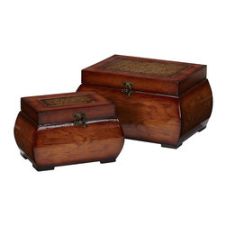 Nearly Natural - Decorative Lacquered Wood Chests - Set of 2 - Grain pattern accented by shiny gloss sheen. Intricately designed floral artwork. Sure to delight admirers. Construction Material: Wood, PVC Leather. 11.25  in. W x 8.25  in. D x 6.5 in. H  . 8.5  in. W x 5.5  in. D x5.25  in. HOk, who doesn't want a set of beautiful wood boxes?  We didn't think so.  This set's larger piece is 6.5 inches high, 11.25 wide and 8.25 inches deep, while its companion is 5.25 inches high, 8.5 inches wide, and 5.5 inches deep for ample storage. The breathtaking grain pattern is accented by a shiny gloss finish giving it a wide variety of color sheen. A simple clasp attaches to the top where one can admire the intricately designed floral artwork.