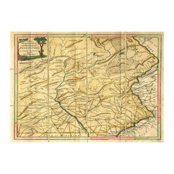 Folded Map: Pennsylvania - Framed - Not only a map but also an exquisite example of antique illustration, the Folded Map of Pennsylvania is Americana with artifact appeal. Framed in dark wood to serve as a wall piece of handsome size, this is a map you'll want to spend time in studying, noting the features pointed out by the cartographer between the feathered lines where such a map would be folded between uses.