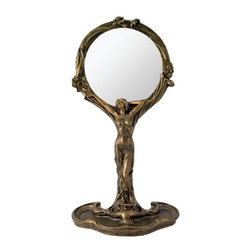 TLT - 11.5 Inch Art Nouveau Standing Lady Hand Resin Mirror, Bronze - This gorgeous 11.5 Inch Art Nouveau Standing Lady Hand Resin Mirror, Bronze has the finest details and highest quality you will find anywhere! 11.5 Inch Art Nouveau Standing Lady Hand Resin Mirror, Bronze is truly remarkable.