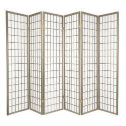 Oriental Furniture - 6 ft. Tall Window Pane - Special Edition, Grey, 6 Panel - The popular Window Pane Shoji Screen is now available in a special edition run of beautiful new colors! The fiber-reinforced Shoji rice paper offers privacy while allowing diffused light to filter through, and the Scandinavian spruce frame is both durable and lightweight. This special edition won't last forever, so pick your favorite color today while supplies last!