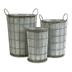 iMax - iMax Chandler Metal Flower Vases - Set of 3 X-3-71247 - This set of three galvanized flower vases feature a cage like design that gives a shabby chic look to any room.