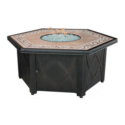 UniFlame LP Gas Hexagonal Firebowl with Decorative Tile Mantel - This unique hexagonal fire pit is finished with a detailed Slate Tile Mantel and will form the centre piece of your outdoor entertaining area, enabling your family and friends to fully enjoy the benefits of outdoor living.