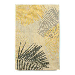 """Trans-Ocean - Palms Yellow 23"""" x 35"""" Indoor/Outdoor Flatweave Rug - Casual and Simple pattern combined with beautifully blended yarns in modern colors make this Machine Made rug rise above the rest. Wilton Woven in Turkey of 100% Polypropylene and UV stabilized for Indoor or Outdoor use. A loose weave of Polypropylene creates the look of natural fibers but is easy to care for."""