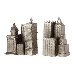 Cityscape Bookend - I love these stylish Cityscape bookends. They have a vintage yet modern feel and will add some interest to any bookshelf.
