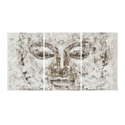 Safavieh - Buddha 3Pc Painting ART2006A - The soothing colors of this Buddha painting on canvas on wood has three times the charm of an ordinary painting. Each panel of the triptych is richly textured with two-dimentional brushstrokes, creating a Zen-like ambience in any interior.