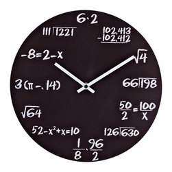 Pop Quiz Wall Clock in Matte Black - With mathematical equations at each number space, the Pop Quiz Wall Clock with Matte Black metal face and white chalk math equations is a nice and creative accent with the great practical meaning.