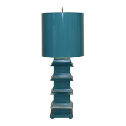 """Worlds Away - Worlds Away Turquoise Painted Large Tole Pagoda Lamp LMPHL-TU - Turquoise painted large tole pagoda lamp with 13"""" dia painted tole shade. Ul approved for one 60 watt bulb."""