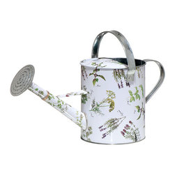 Herb Print Watering Can - Made of durable, galvanized steel, and has a folding top handle and removable rose. Detailed print features an array of herbs–Mint, Parsley, Lavender, and more–to keep you inspired as you work in your garden.