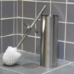 None - Etched Stainless Steel Toilet Brush Holder with Brush - Square etching lends sophistication to this unique toilet brush holder. Crafted with a matte stainless steel handle,this brush and holder set will help you keep your bathroom clean in discreet style.