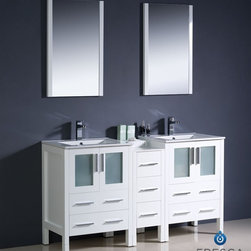 "Fresca - Fresca Torino 60"" Modern Double Sink Bathroom Vanity w/ One Side Cabinet & Two I - Fresca is pleased to usher in a new age of customization with the introduction of its Torino line. The frosted glass panels of the doors balance out the sleek and modern lines of Torino, allowing it to fit perfectly in both 'Town' and 'Country' décor.The Fresco Torino bathroom vanity is 60"" wide and 33.75"" high, and boasts 18.13"" deep under-sink storage space – perfect for towels and other bathroom necessities. This bathroom vanity is completed with a 31.5"" wide x 31.5"" high x 1.25"" deep wall mounted mirror for optimal function and style.Items included: Main Vanity Cabinet(s), Countertop(s), Vessel/Integrated Sink(s), Mirror(s), Faucet(s), P-Trap and Pop-Up Drain(s), Standard hardware needed for installation.DecorPlanet is proud to offer Fresca Bathroom products. Fresca is a leading manufacturer of high-quality vanities, accessories, toilets, faucets, and everything else to give you the freshest bathroom in the neighborhood. Fresca is known for carrying the latest and most popular styles in modern and contemporary bathroom design that are made with high quality materials and superior workmanship."