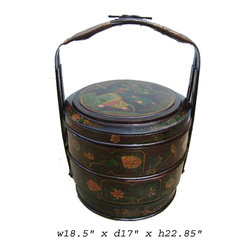 Chinese Bamboo Round Flower Wedding Basket - This is a traditional oriental bamboo basket with nice hand painted flower graphic on the lid. It has subtle color and decent details on the finish.