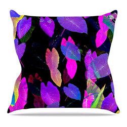 "KESS InHouse - Fernanda Sternieri ""Fluo Jungle"" Purple Black Throw Pillow, Indoor, 16""x16"" - Rest among the art you love. Transform your hang out room into a hip gallery, that's also comfortable. With this pillow you can create an environment that reflects your unique style. It's amazing what a throw pillow can do to complete a room. (Kess InHouse is not responsible for pillow fighting that may occur as the result of creative stimulation)."