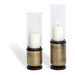 Interlude - Amari Candlestands - Brass - Set of 2 - Simple glass cylinders make a bold, streamlined statement when they're set atop bases of sleek, polished brass and rich, dark chocolate wood.