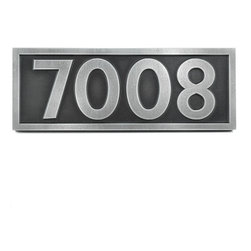 "Pleione Address Plaque 16"" x 6"" in Pewter finish - Our Pleione Address Plaque can go from New York Chic to Greek Classic with a stop at Contemporary for good measure. You don't have to reside on Mount Kyllini because this will look just as good in Chicago, New York, or Los Angeles as it would in Arcadia. View more images to see the Kabel Typeface which has a bit of a Modernism feel...no one says this cannot be a name plaque...note though there are no lower case letters."