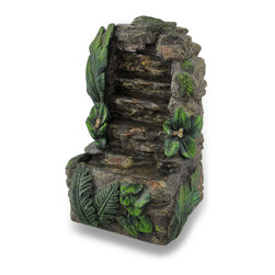 Zeckos - Rock Waterfall Mini Battery Powered Tabletop Water Fountain - Perfect for the bedroom, office or anywhere you'd want to have the soothing sounds of a babbling waterfall, this resin mini tabletop water fountain is sized just right for a nightstand, small table or shelf at 7.5 inches high, 5 inches long and 4 inches wide (19 X 13 X 10 cm). It's simple to use, and is battery powered making it easy to move it around wherever you are Simply insert 2 AA batteries (not included), fill with water, and turn the switch on the side to the 'on' position, and you'll be relaxing in no time It features a hand-painted natural rock finish highlighted with greenery to bring a touch of the outside in, and it's great as a housewarming gift sure to be enjoyed