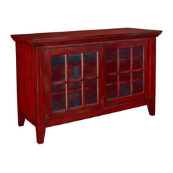 Hammary - Hammary T73199-99 Hidden Treasures Entertainment Console in Heavily Textured Red - The Hidden Treasures collection is a fabulous assortment of one-of-a-kind accent pieces inspired by the greatest furniture designs from around the world. Each selection is a true treasure - rich in Old World icons and traditions. All the pieces in this collection are crafted with attention to every detail. From brass nailhead trim and exquisite hand-painting to elegant shaping and decorative trim  every item is a unique work of art. A wide variety of materials is used to create the perfect look and finest quality - from exotic woods  leather and stone to raffia and glass. The huge selection of finishes  hardware  exceptional carvings and other final touches offer unsurpassed versatility for any room in the home. Hidden Treasures includes cocktail tables  occasional and accent pieces  trunks  chests  consoles  wine racks  desks  entertainment units and interesting storage pieces. Place one in a comfortable reading nook... in the family room for flair and variety... in the foyer for a welcome look... in a bedroom for cozy style... or in the office for function and versatility. The pieces in this collection mix beautifully with any decorating style and will easily become the focal point in any setting.