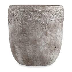 Cohen Large Flower Pot - Resembling a concrete texture, this simple flower pot has a beautiful sophisticated elegance.