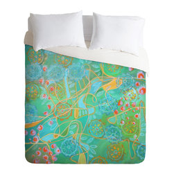 DENY Designs - Stephanie Corfee Secret Garden Duvet Cover - Turn your basic, boring down comforter into the super stylish focal point of your bedroom. Our Luxe Duvet is made from a heavy-weight luxurious woven polyester with a 50% cotton/50% polyester cream bottom. It also includes a hidden zipper with interior corner ties to secure your comforter. it's comfy, fade-resistant, and custom printed for each and every customer.