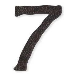 Atlas - Long Jagged Hammered House Number 7 - HN7L-O - Color: Aged BronzeManufacturer SKU: HN7L-O. Projection: 0.25 in.. Made from metal. 5.5 in. L x 3.6 in. W