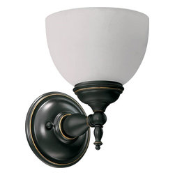 Quorum - Ashton 1-Light Wall Sconce Old World - Choose Ashton's classic style and clean lines for your traditional or modern interior. The substantial half-sphere glass radiates a welcoming light.