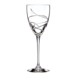 Lenox - Lenox Adorn Signature Crystal Wine Glass - Living up to its name, the Signature Crystal Wine Glass by Lenox features ribbon-like cuts and a fine crystal construction. Curved lines make their way up the glass, ending with a distinctive flourish at the top.