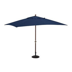 Rectangular Umbrella Canopy Replacement, Solid, Ink Blue - Give your umbrellas a fresh, new look this season. In vibrant, sun-drenched colors and patterns, these canopies add summertime energy to your outdoor spaces. Sunbrella(R) fabric available in 9' diameter or rectangular canopies and feature a tie closure. Standard fabric available in 6' or 9' diameter, or rectangular canopies. Rectangular Canopy available as 9.8' wide x 6.5' deep. Great way to update your umbrella each season Generously sized umbrella canopies feature weather-resistant polyester canvas. Replacement canopies will fit all PB umbrella frames: Eucalyptus, Teak or Aluminum. Read more on our blog about the inspiration behind this product. View our {{link path='pages/popups/fb-outdoor.html' class='popup' width='480' height='300'}}Furniture Brochure{{/link}}.